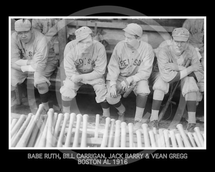 Vean Gregg - Babe Ruth, Bill Carrigan, Jack Barry, & Vean Gregg, Boston Red Sox AL 1916.