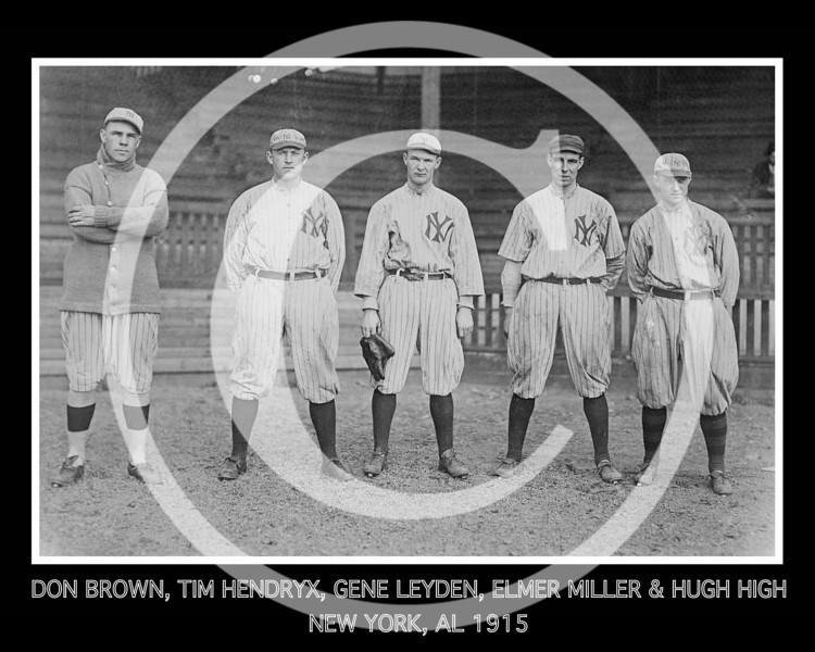 Don Brown, Tim Hendryx, Gene Leyden, Elmer Miller, Hugh High, New York Yankees AL outfielders 1915.