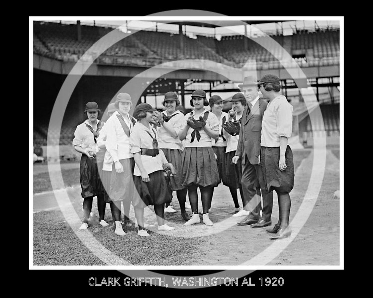 Female baseball players and Clark Griffith, owner and manager Washington Senators AL,  10 June 1920.