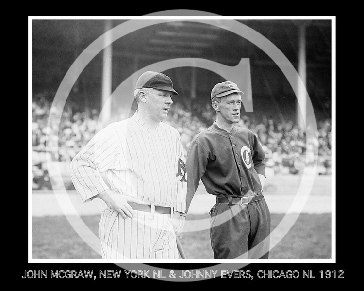 Johnny Evers - John McGraw, New York Giants NL, & Johnny Evers, Chicago Cubs NL, at the Polo Grounds NY, 1912.