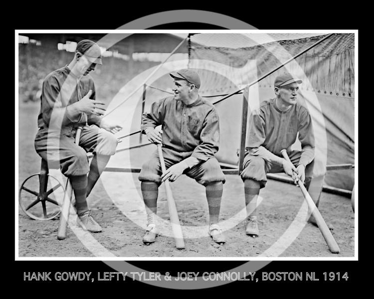 Joey Connolly - Hank Gowdy, Lefty Tyler, Joey Connolly, Boston Braves NL,  1914.
