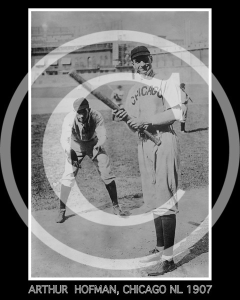 Arther Solly Hofman batting, and Jack Pfiester, a pitcher playing catcher, Chicago NL 1907.
