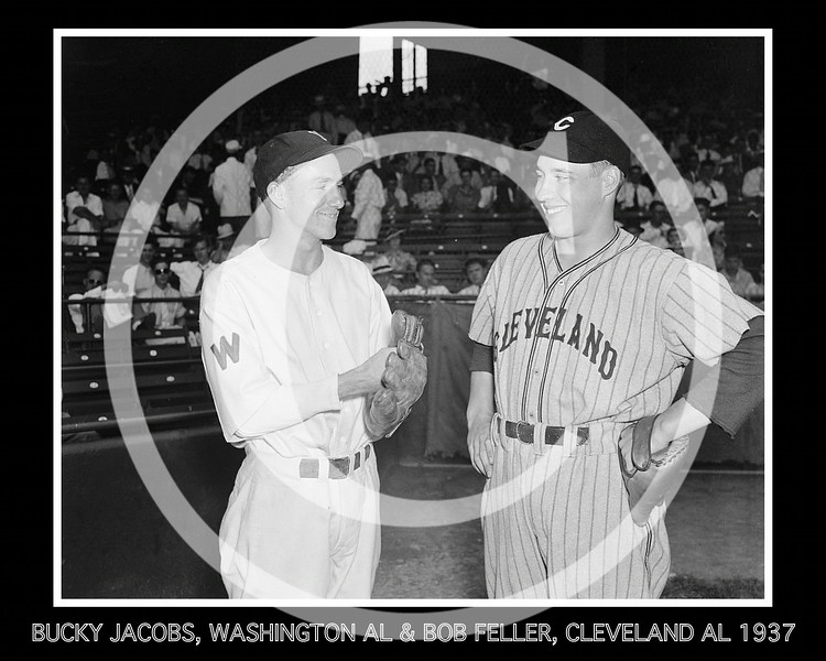 Bob Feller - Bucky Jacobs, rookie Washington's Senators AL from Richmond, VA. and Bob Feller, Cleveland Indians AL, 2 August 1937.