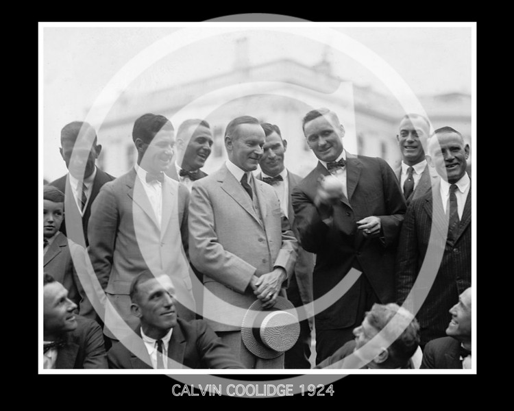 Calvin Coolidge, President of the United States with Walter Johnson, Washington Senators AL and his team mates, 5  September 1924.