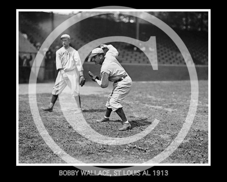 BOBBY WALLACE, WITH BALL IN HAND, ST LOUIS AL 1913