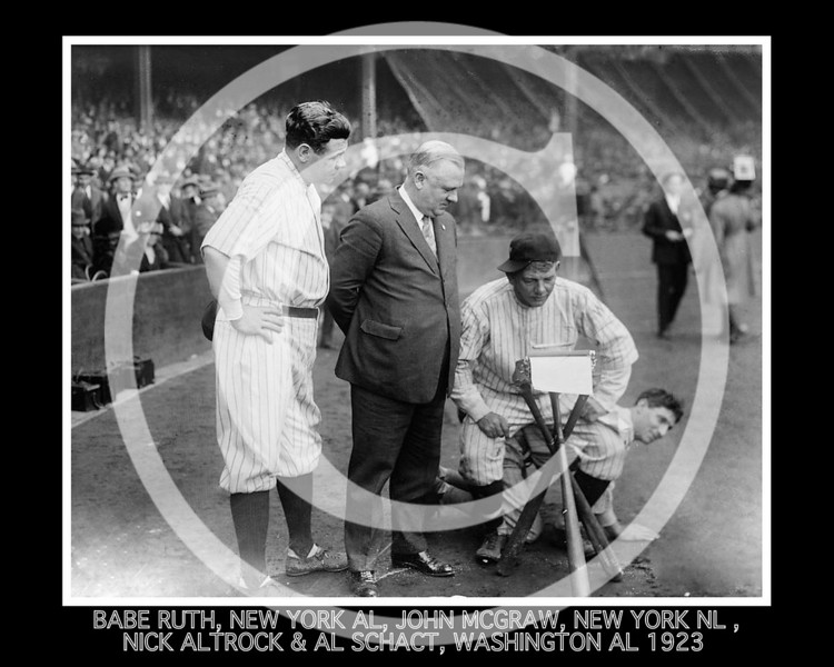 Babe Ruth, New York Yankees AL, John McGraw, New York Giants NL, Nick Altrock and Al Schact, Washington Senators AL, 10 October 1923.