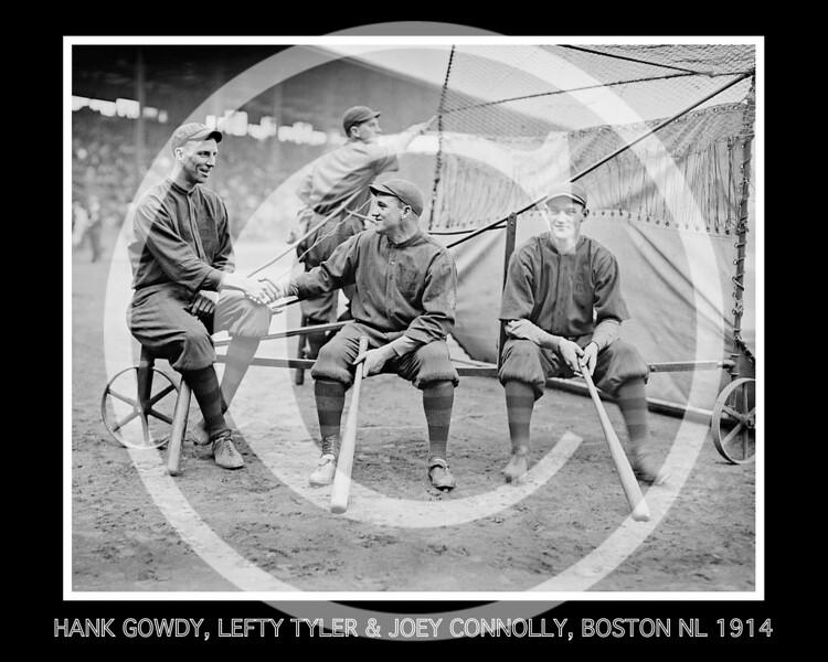 Hank Gowdy, Lefty Tyler, Joey Connolly, Boston Braves NL,  1914.