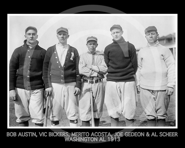 Merito Acosta - Robert Austin, Vic Bickers, Merito Acosta, Joe Gedeon, and Al Scheer, Washington Senators AL, 1913.