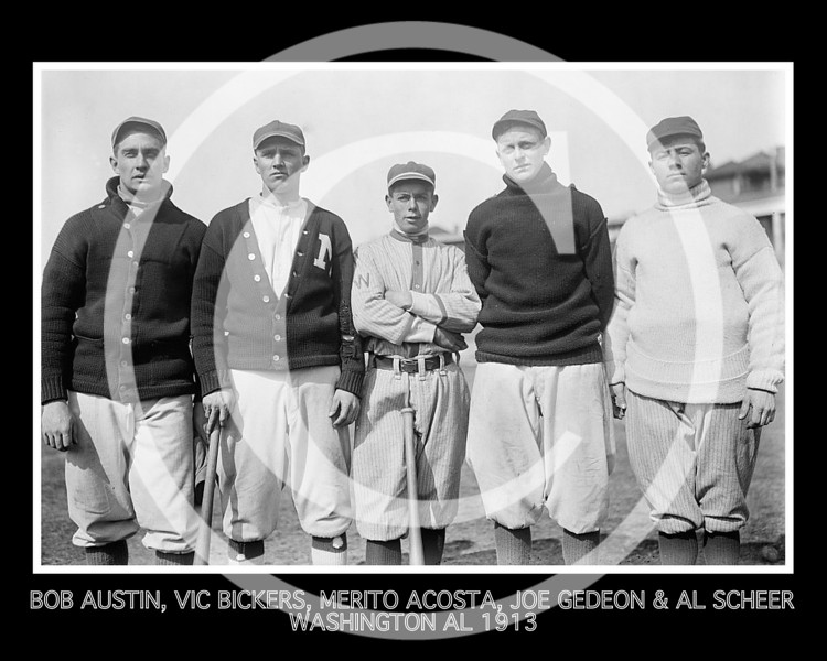 Al Scheer - Robert Austin, Vic Bickers, Merito Acosta, Joe Gedeon, and Al Scheer, Washington Senators AL, 1913.
