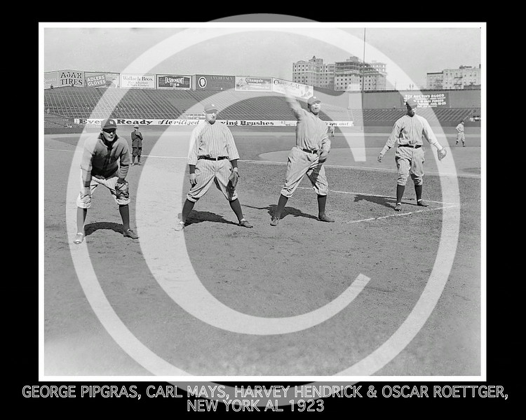 Carl Mays - George Pipgras, Carl Mays, Harvey Hendrick, Oscar Roettger, New York Yankees AL, 26 April 1923.