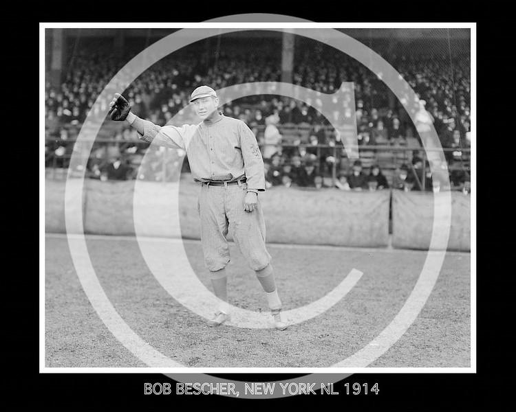 """Robert Henry """"Bob"""" Bescher, New York Giants NL, 1914."""