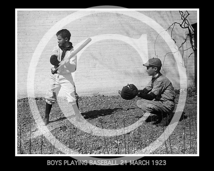 Boys playing baseball, 21 March 1923.