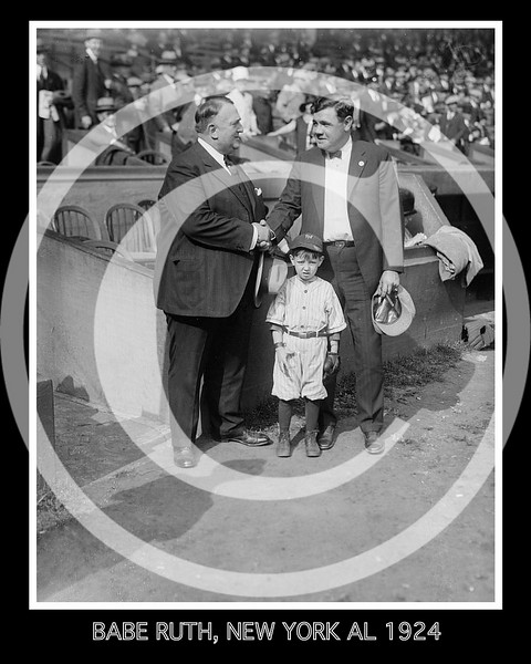 Babe Ruth, New York Yankees AL, Bill Edwards, and mascot 7 October 1924.