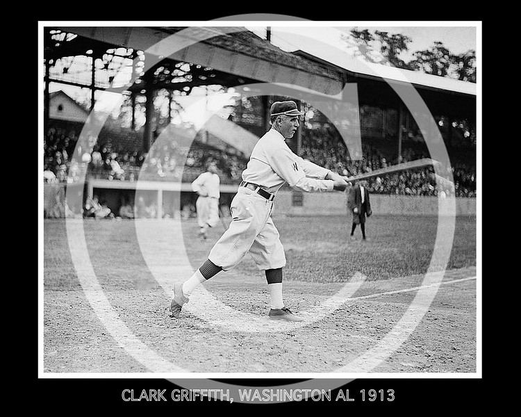 Clark Griffith, manager Washington Senators AL, at National Park, Washington, D.C. 1913.