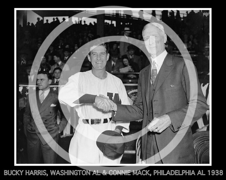 "Stanley Raymond ""Bucky"" Harris, Washington Senators AL and Connie Mack, Philadelphia Athletics AL shake hands prior to their game on Opening Day 1938 ."