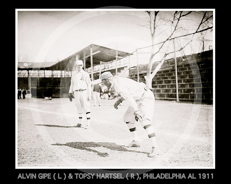 Alvin Gipe (left) & Topsy Hartsel (right), Philadelphia Athletics AL, 1911.
