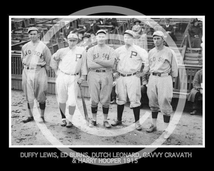 Gavvy Cravath - Duffy Lewis, Dutch Leonard, and Harry Hooper of the Boston Red Sox AL. Ed Burns and Gavvy Cravath of the Philadelphia Phillies NL, 11 October 1915.