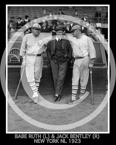 Jack Bentley - Babe Ruth & Jack Bentley in Giants uniforms for exhibition game; Jack Dunn in the centre. October 1923.