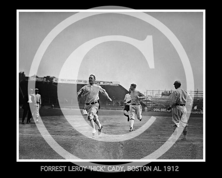 """Forrest Leroy """"Hick"""" Cady, Boston Red Sox AL,wins a foot race at Fenway Park, Boston, 25 Sept 1912."""