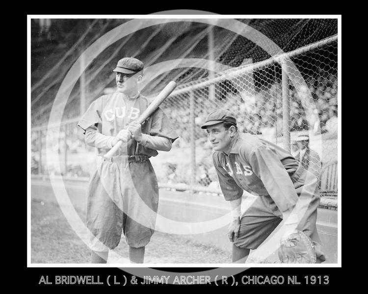Al Bridwell & Jimmy Archer, Chicago Cubs NL, 1913.