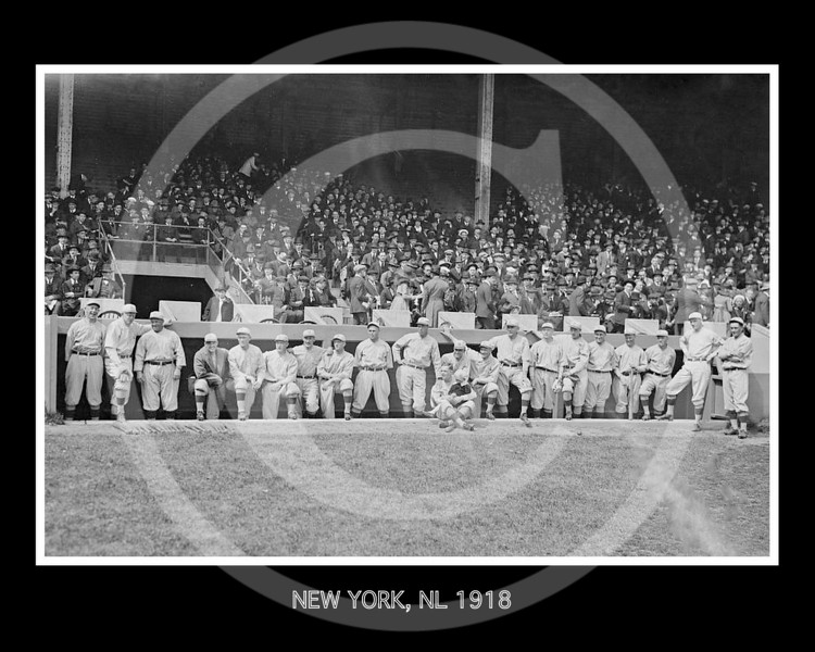 New York Giants NL, in front of dugout, 16 April 1918.