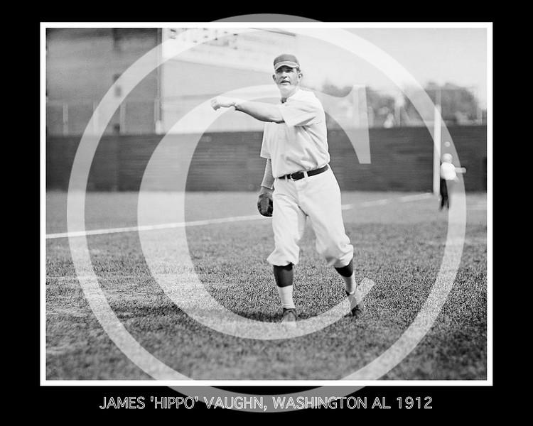 """James Leslie """"Hippo"""" Vaughn, Washington Senators AL, 1912."""