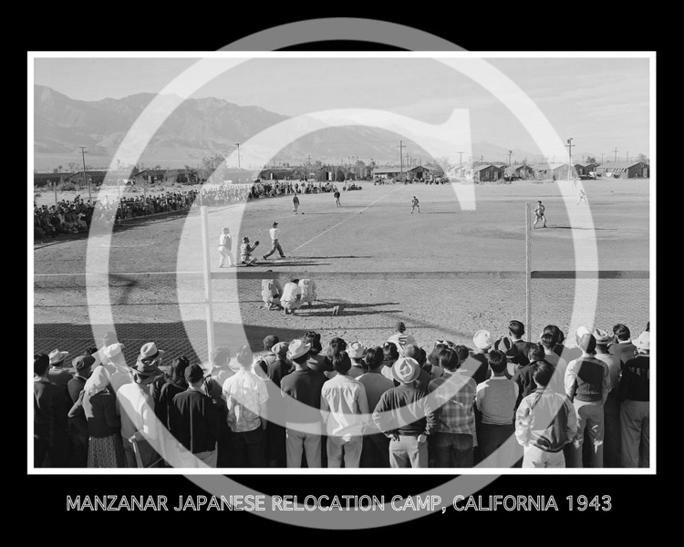 BASEBALL GAME, MANZANAR JAPANESE RELOCATION CAMP, CALIFORNIA 1943