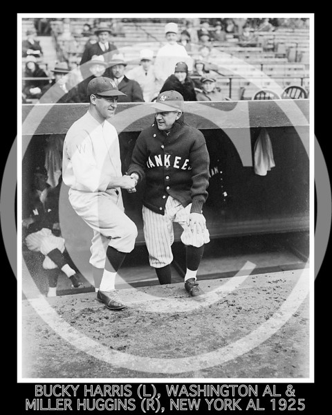 "Stanley Raymond ""Bucky"" Harris, manager Washington Senators AL, & Miller Huggins, manager New York Yankees AL, 15 April 1925."