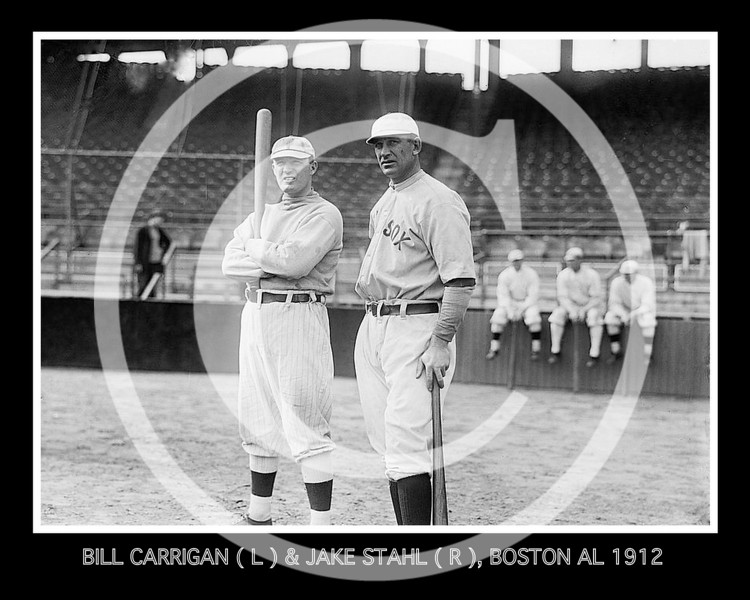 Bill Carrigan & Manager Jake Stahl, Boston Red Sox AL, 28 Sept 1912.