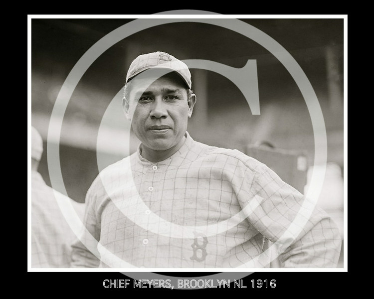 Chief (John Tortes) Meyers, Brooklyn Robins NL, 1916.