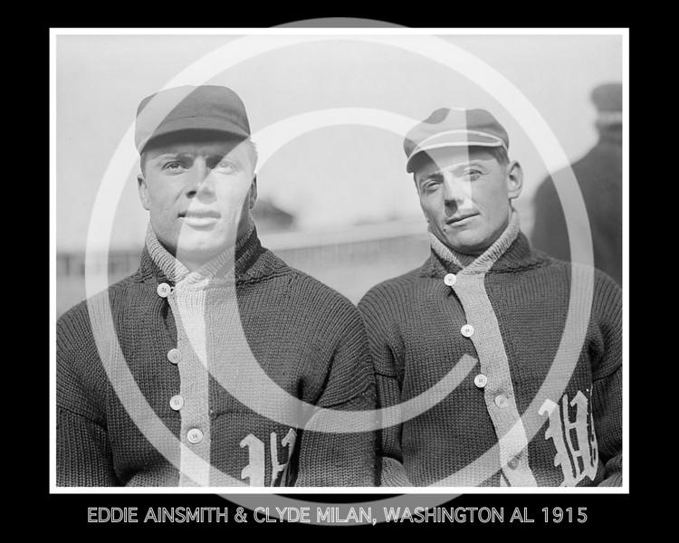Eddie Ainsmith and Clyde Milan, Washington Senators AL, at the University of Virginia, Charlottesville 1915.
