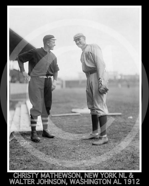 Walter Johnson - Christy Mathewson, New York Giants NL and Walter Johnson, Washington Senators AL,  1912 .