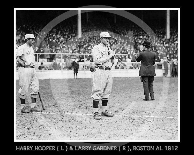 Larry Gardner - Harry Hooper (left) and Larry Gardner (centre), Boston Red Sox AL, 1912.