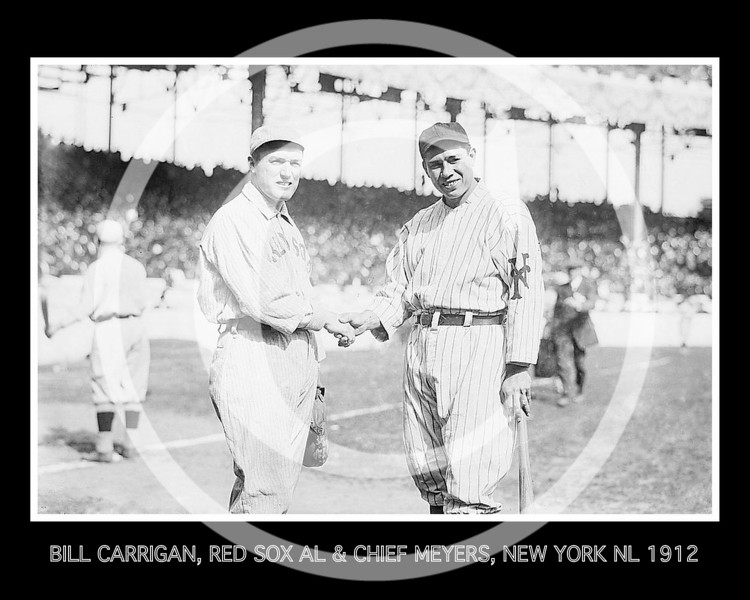 Bill Carrigan, Boston Red Sox AL & Chief Meyers, New York Giants NL, during World Series at Polo Grounds, New York, 1912.
