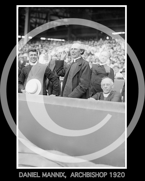 Australian Archbishop Daniel Mannix of Melbourne, throwing baseball at Polo Grounds, New York 1920.