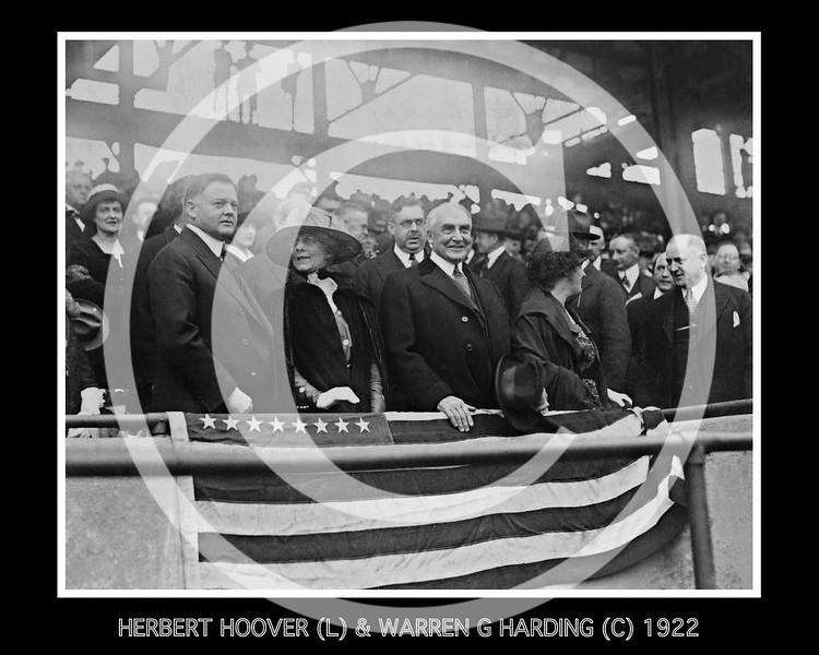 Herbert Hoover, 31st President of the United States, Mrs. Warren G. Harding, Warren G. Harding, 29th President of the United States, Mrs. Herbert Hoover, and H.M. Daugherty, all standing in grandstand, at a baseball game, 1922.