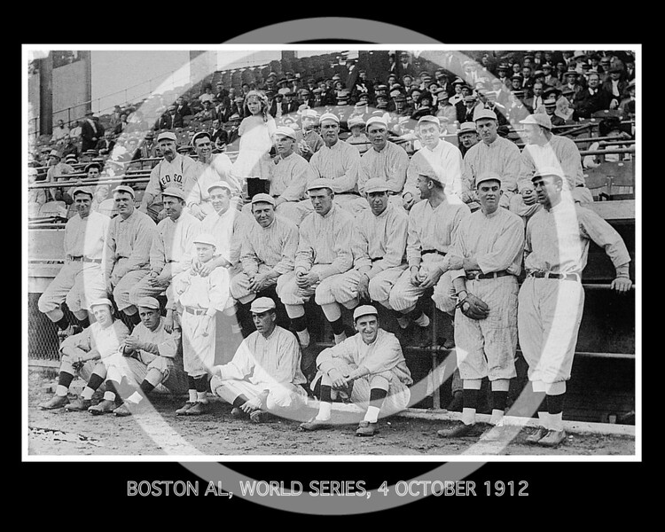 Boston Red Sox AL, team photo at 1912 World Series, 4 Oct 1912.