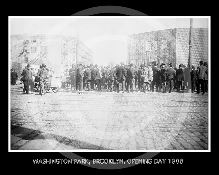 Baseball fans & ice cream vendors outside Brooklyn Park, opening day, New York 1908.