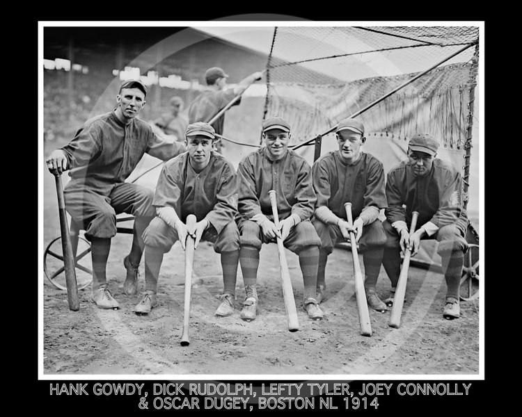 Lefty Tyler - Hank Gowdy, Dick Rudolph, Lefty Tyler, Joey Connolly, Oscar Dugey, Boston Braves NL, 1914.