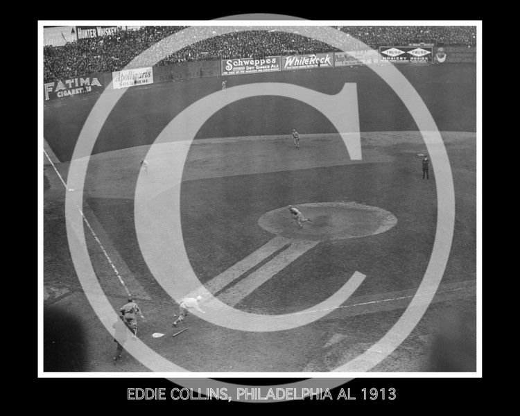 Eddie Collins, Philadelphia Athletics AL, bunts against the New York Giants NL 9th October 1913 in the 3rd game of the World Series at the Polo Grounds.