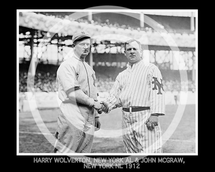 John McGraw - Harry Wolverton, New York Highlanders AL, and John McGraw, New York Giants NL, at the Polo Grounds NY, 21 April 1912.