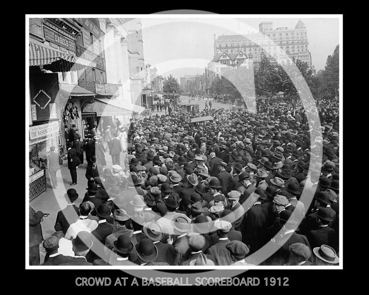 Crowds at a baseball scoreboard, 1912.