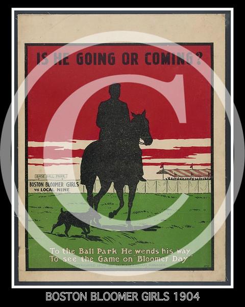 Boston Bloomers, women's baseball team, poster 1904.