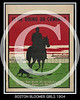 Boston Bloomer Girls poster  A silhouette of a man on horseback and a dog heading toward the fence and grandstand of a base ball park where the Boston Bloomer Girls are playing  1904