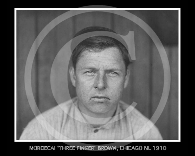 Mordecai Three Finger Brown, pitcher for the Chicago Cubs NL, 1910.