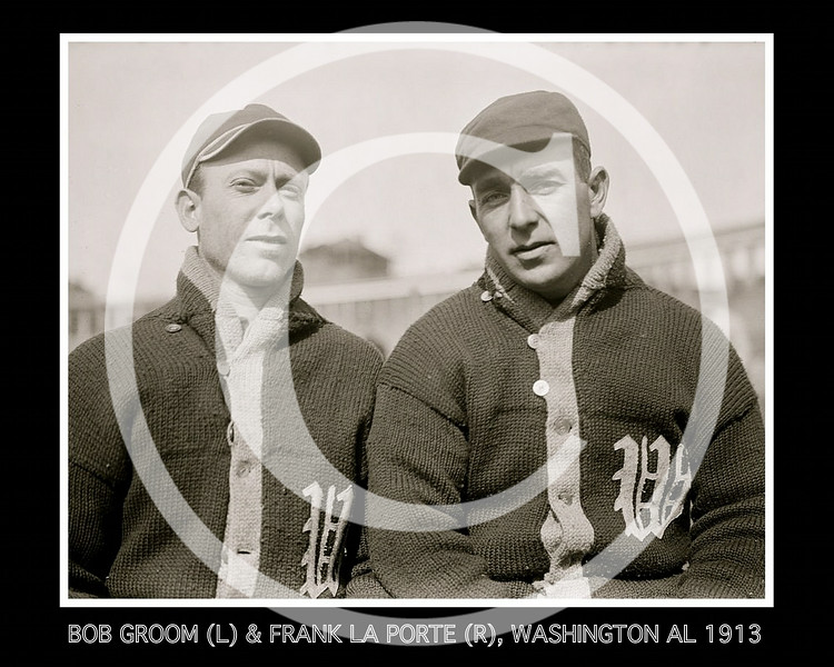 Bob Groom and Frank LaPorte, Washington Senators AL, at University of Virginia, Charlottesville, 1913.