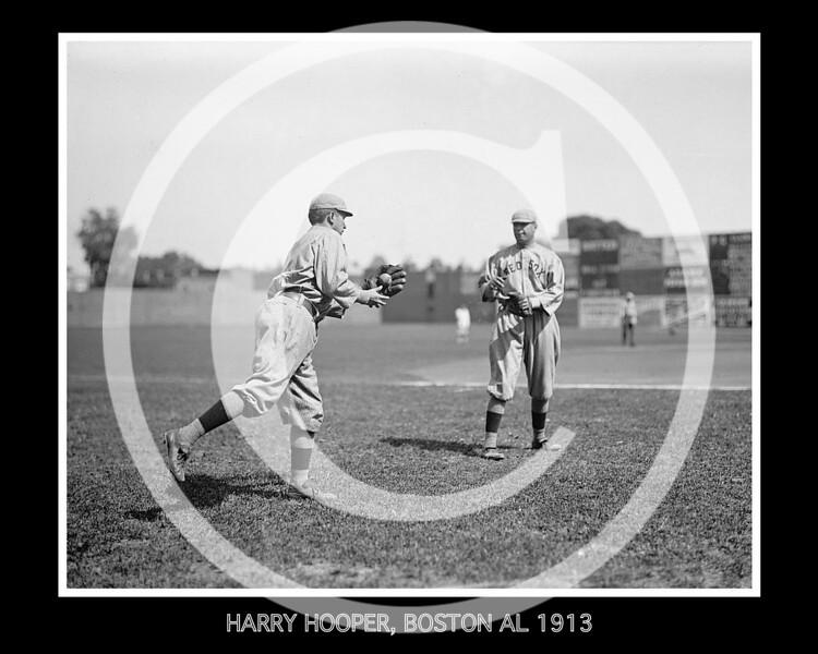 Harry Hooper, left, Boston Red Sox AL, 1913.