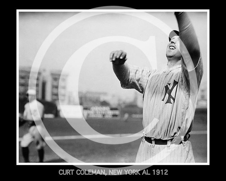 Curt Coleman, New York Highlanders AL, at Hilltop Park NY, 1912.