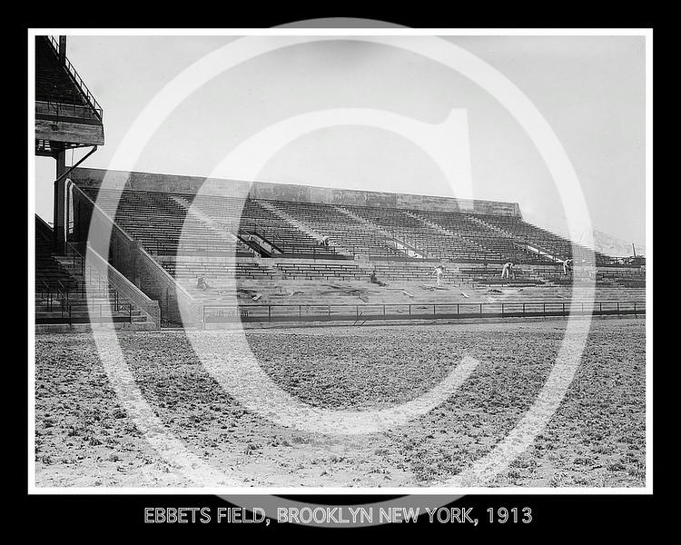 Ebbets Field. Bleachers under construction, Brooklyn Dodgers NL, 1913.