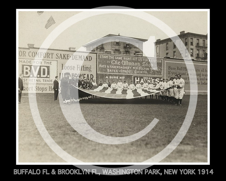 Buffalo Buffeds, Federal League and the Brooklyn Tip Tops, Federal League holding a large American flag in Washington Park, New York, 1914.